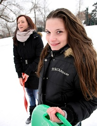 Snow playing teen sweeties return home for hot lesbian sex
